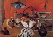 A semi-abstract painting of a table with a variety of objects on it, including a skull, a basket, a jug and a candle-holder, and a large lampshade and bulb suspended above it.