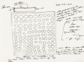 A piece of paper featuring a sketch of a square filled with rows of circles, surrounded by handwritten notes and numbers.