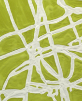 A detail showing many overlapping white lines against a yellowish green background and the undulations of the paint surface.