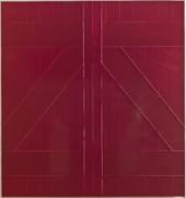 A photograph of Red Barn Door showing the deep ridges that outline the rectangles and differences in texture in the composition.