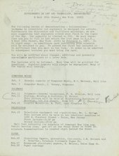 A piece of paper with typewritten text giving details of the subjects, times, location and ticketing for the Experiments in Art and Technology (E.A.T.) lectures.