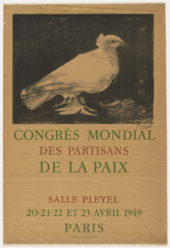 A poster featuring lettering and the image of a white bird shown in profile standing on the ground.