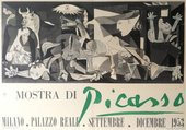 A poster featuring lettering at the bottom and a reproduction of Picasso's painting Guernica at the top.