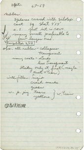 A piece of paper featuring handwritten notes on the E.A.T. lectures, including observations about rubber, clear latex and Silotex.