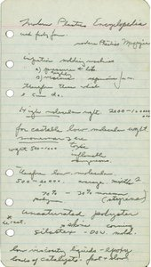 A piece of paper featuring handwritten notes on the E.A.T. lectures, including observations about the molecular weight and viscosity of certain materials.