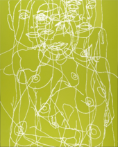 A large vertically oriented painting. White painted outlines describe the head and torso of a nude figure with breasts, painted several times in various positions so that they are superimposed over one another, set against a yellowish green background