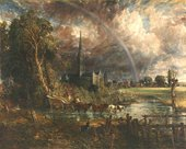A scene featuring a stretch of water with cattle and trees in the foreground, a stormy sky above and a cathedral in the background under a large rainbow.