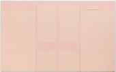 A horizontal painting featuring rectangles of various sizes, symmetrically arranged to resemble a set of doors, painted in light pink paint with a slightly darker pink background.
