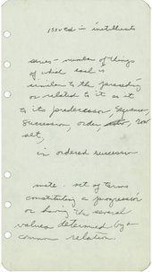 A piece of paper with handwritten notes on it, including a definition of the word 'series'.