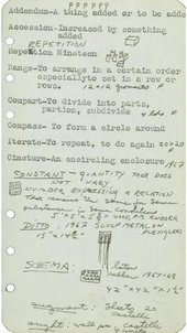 A piece of paper featuring small sketches interspersed with handwritten notes and typewritten text, including words to be used as artwork titles, such as 'Schema', 'Ditto', 'Iterate' and 'Addendum', along with definitions.