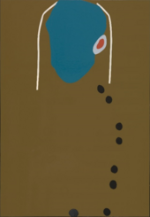A semi-abstract portrait painting featuring a blue face, two white lines indicating hair, one ear, and black and brown buttons running down the torso, with a greenish brown background.
