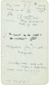 A piece of paper featuring handwritten notes interspersed with small sketches of circles, lines and grids accompanied by the word 'addendum'.