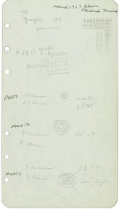 A piece of paper featuring handwritten notes interspersed with small sketches of circles, lines and grids.