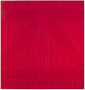 A large painting in deep red representing the door of a barn, with thick vertical, horizontal and diagonal lines suggestive of panels of wood.