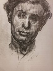 A pencil drawing on white paper of a man's head and neck tilted to the right. Deep tonal shading expresses the contours of the man's features, with very few areas left white.