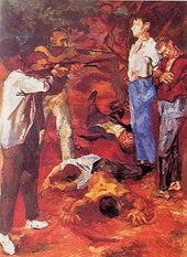 A painting of two individuals pointing rifles at two other individuals at close range, with three injured or dead figures lying on the ground between them.