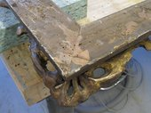 Photograph of the frame corner showing the altered mitre keys