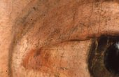 Fig.5 Detail of the sitter's left eye, showing red pigments mixed with white for the white of the eye, and dark drawing lines