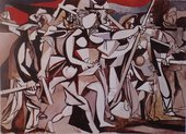 A semi-abstract painting, mostly in white, black and grey with some red and blue, that features figures with weapons marching in a row from the left side of the composition to the right.