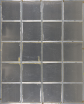 The reverse of the aluminium panel of Water Painting, showing the aluminium bars (6 horizontal, 5 vertical) that cross vertically and horizontally to form a grid-shaped support.