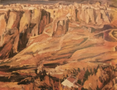 A painting of a steep hillside with fields and gullies, painted in light earth tones of tan and reddish brown. A town is shown above cliffs at the top.
