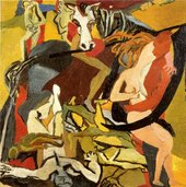A semi-abstract painting featuring a chaotic composition of entangled figures lying or writhing on the ground in distress, a pair embracing on the right, and the twisted body of a horse that appears to carry a large curved knife in its mouth.