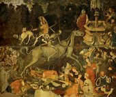 A wall-painting depicting a human skeleton riding a horse skeleton in a tree-lined landscape, surrounded by figures lying on the ground, praying, playing instruments and conversing.