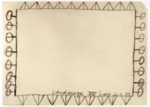 A roughly drawn rectangle on white paper with triangles and circles on sticks, to signify walls and trees around a field.