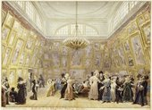 A light watercolour painting of a large airy room with a chandelier, the walls of which are covered with mostly unidentifiable artworks. Most of the room is crowded with figures in dark suits and top hats or dresses in a variety of colours.