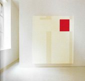 A large mostly white painting with a red rectangle in the upper right-hand corner and vertical beige lines.