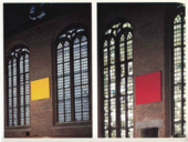 Two photographs of rectangular paintings, yellow in one and red in the other, hanging in a church between two tall windows.