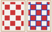 Two prints by Palermo with a red and white checkerboard pattern. the right-hand print has blue lines separating the squares.