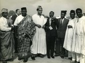 Fig.2 Photograph taken on the occasion of Nigeria joining the United Nations, showing Ben Enwonwu (centre right) with a Nigerian delegation that includes politicians J.M. Johnson (centre left) and Festus Okotie Eboh (third from left), United Nations Gener