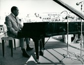 Fig.2 Jazz musician Duke Ellington performing on stage at the national stadium in Dakar as part of the First World Festival of Negro Arts, 1966
