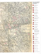 A map of West London, with a key showing which artists and curators lived where at the time.