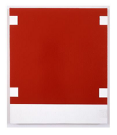 A painting consisting of a large red area with a white square at each corner and a white stripe at the bottom.