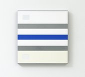 A white painting with horizontal stripes in the order grey, blue, grey – and a grey rectangle in the top left-hand corner.