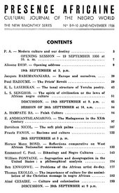 Fig.7 Contents page of the special issue of Présence Africaine featuring the proceedings of the First International Conference of Negro Writers and Artists, Paris 1956