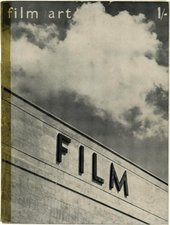 Front cover of Film Art magazine, showing a black-and-white photograph of the top of a building's facade with lettering on it spelling FILM, against a bright, cloudy sky