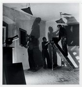 Sven Berlin, John Wells and Peter Lanyon hanging their work for the first St Ives-based Crypt Group of Artists exhibition 1946 © Tate archive