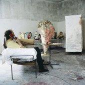 Franz West in his studio in Vienna, 1995