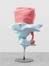 Coral and light blue sculpture in a iceberg shape