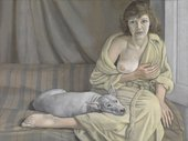 painting of a woman with a dog in her lap