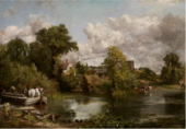 Painting of a river scene with trees and thatched buildings in the middle. A barge with a white horse appears on the left, and livestock stand at the edge of the water on the right.