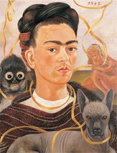 Self-portrait of Frida Kahlo surrounded by a monkey and small dog