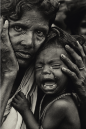 Refugees, Bangladesh, an exhausted mother and child in a refugee camp on the Indian border with East Pakistan, 1971