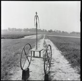 Giacometti's The Chariot 1950 photographed by Ernst Scheidegger in the Swiss countryside, 1963