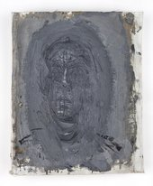 Alberto Giacometti,Head of Man, Face On, c.1956-7, oil paint on canvas, 26.1x21.6cm