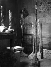 Standing Woman, 1948 and other sculptures in Giacometti's Paris studio, c. 1948-9, photographed by Ernst Scheidegger