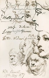 Sir John Gilbert RA, Sketches and notes made at a Royal Academy Council meeting, 15 May 1877